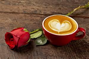 Картинка Розы Капучино Сердце Чашке Цветы