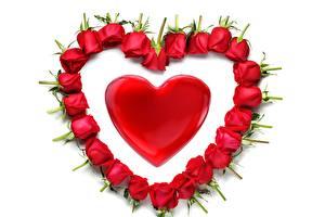 Фото Розы День святого Валентина Сердце Цветы