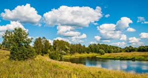 Фотография Россия Речка Небо Трава Облака Деревья Moscow river Природа