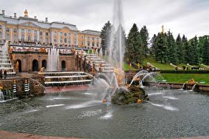 Обои Россия Санкт-Петербург Здания Фонтаны Парки Скульптуры Дворец Peterhof