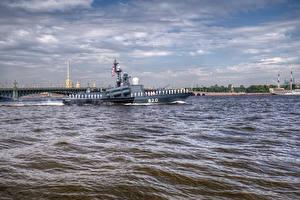 Фото Россия Санкт-Петербург Река Корабли Города