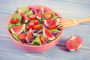 Фото Салаты Овощи Помидоры Инжир Доски Пища