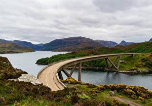 Обои Шотландия Речка Мосты Холмы Kylesku Bridge Природа