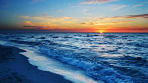 Фотографии Море Волны Рассветы и закаты Солнце Природа