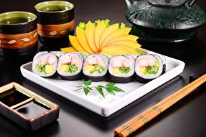 Фотография Морепродукты Суши Соевый соус Еда