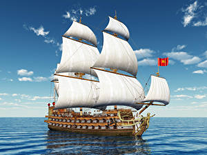 Фото Корабли Парусные Море