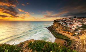 Картинки Синтра Португалия Здания Берег Рассветы и закаты Утес Города