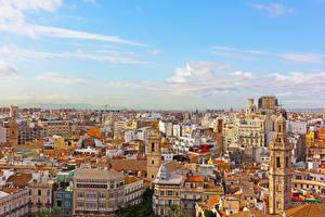 Картинка Испания Дома Крыше Valencia Города