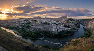 Обои Испания Толедо Здания Речка Вечер