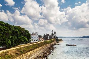 Картинки Шри-Ланка Берег Здания Маяки Дороги Galle Города