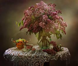 Картинки Натюрморт Сирень Ваза Ветки Чашка Цветы Еда