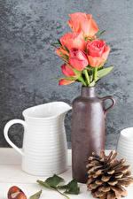 Картинки Натюрморт Розы Вазе Розовый Кувшин Шишка Цветы