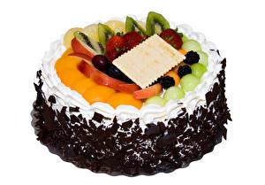 Фото Сладости Торты Фрукты Шоколад Белым фоном Дизайна Еда