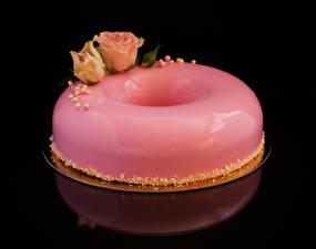 Фото Сладости Торты Розы Черный фон Дизайн Розовый Пища