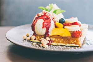 Картинка Сладости Мороженое Фрукты Выпечка Продукты питания