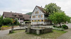 Фотография Швейцария Дома Фонтаны Улица Забор Kaiserstuhl Города