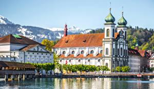 Картинки Швейцария Дома Озеро Мосты Lucerne