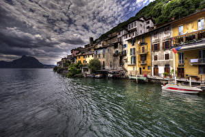 Картинки Швейцария Здания Озеро Пирсы HDRI Деревня village Gandria Lake Lugano Города