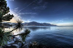 Обои Швейцария Озеро Камень Небо Горы Montreux Lake Geneva Природа