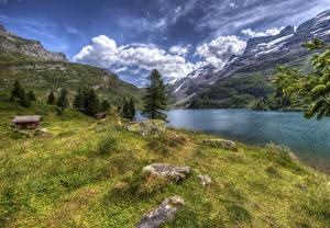 Картинки Швейцария Горы Озеро Здания Камень Пейзаж HDRI Трава Engstlensee