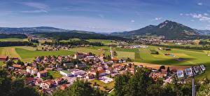 Фотографии Швейцария Пейзаж Здания Поля Холмов Lavaux region Города