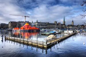 Картинки Швейцария Цюрих Озеро Здания Пирсы HDRI Города