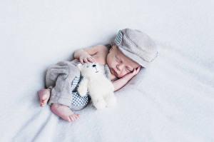 Картинки Мишки Младенцы Сон Шапки Ребёнок