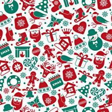 Фотография Текстура Рождество Снеговики Шапки Санта-Клаус Колокольчики Подарки