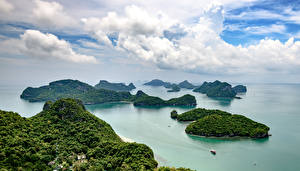 Картинка Таиланд Тропики Парки Остров Залив Облака Ang Thong National Park Природа
