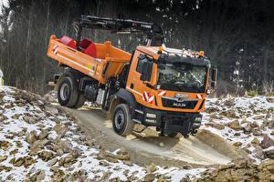 Фотографии Грузовики Оранжевый 2012-18 MAN TGM 18.340 4×4 BB Meiller Dreiseitenkipper Typ 9