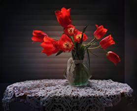 Фотографии Тюльпаны Стол Ваза Красный Цветы