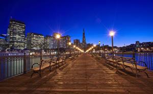 Фотография США Мосты Здания Сан-Франциско Ночь Скамейка Уличные фонари Забора