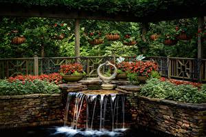 Картинка Штаты Сады Водопады Бегония Дизайн Ограда Gibbs Gardens Georgia Природа