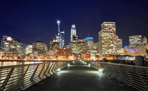 Фотографии Штаты Здания Мосты Сан-Франциско Уличные фонари Забор Ночь