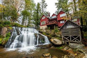 Фото Штаты Дома Водопады Камни Скала Transylvania North Carolina