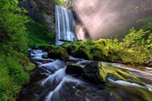 Картинка Штаты Водопады Камни Скала Мох Upper Oneonta Falls Oregon
