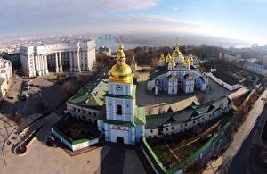 Картинки Украина Киев Здания Храмы Церковь Городская площадь