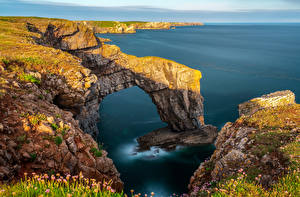 Обои Великобритания Берег Море Утес Уэльс Flimston Природа
