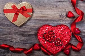 Обои День всех влюблённых Сердце Бантик Лента