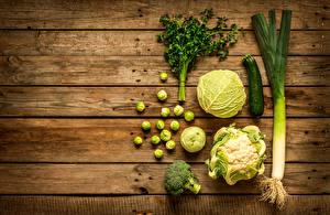 Фотография Овощи Капуста Доски Продукты питания