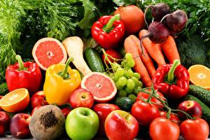 Фотографии Овощи Фрукты Перец Томаты Яблоки Пища