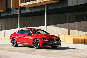Обои Volkswagen Красный Металлик 2017-18 Arteon машины