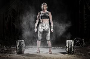 Обои Физические упражнения Штанга Девушки Спорт