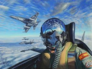 Фотографии Самолеты Картина Шлем Кабина пилота
