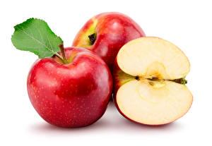 Картинки Яблоки Крупным планом Белый фон Красный Еда