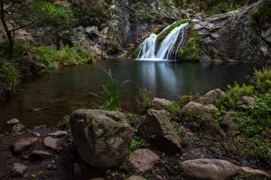 Обои Австралия Водопады Камни Скала Waterfall Jenolan Caves Природа
