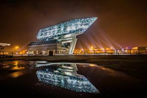 Картинка Бельгия Здания Дизайн Отражение Antwerpen Города