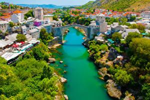 Обои Босния и Герцеговина Дома Речка Мосты Mostar Города