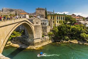 Обои Босния и Герцеговина Речка Здания Мосты Mostar