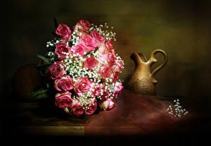 Фото Букеты Розы Кувшин Цветы